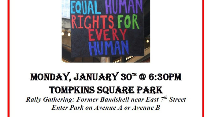Rally in Tompkins Square Park: Monday 6:30 pm